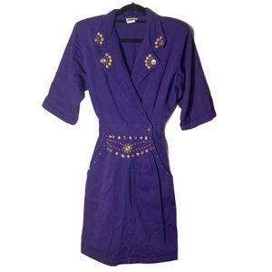VTG Rio Inc 80s Glam Bedazzled Blouson Dress